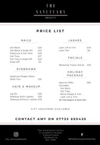 The Sanctuary @ The Goldsmith Clinic price list